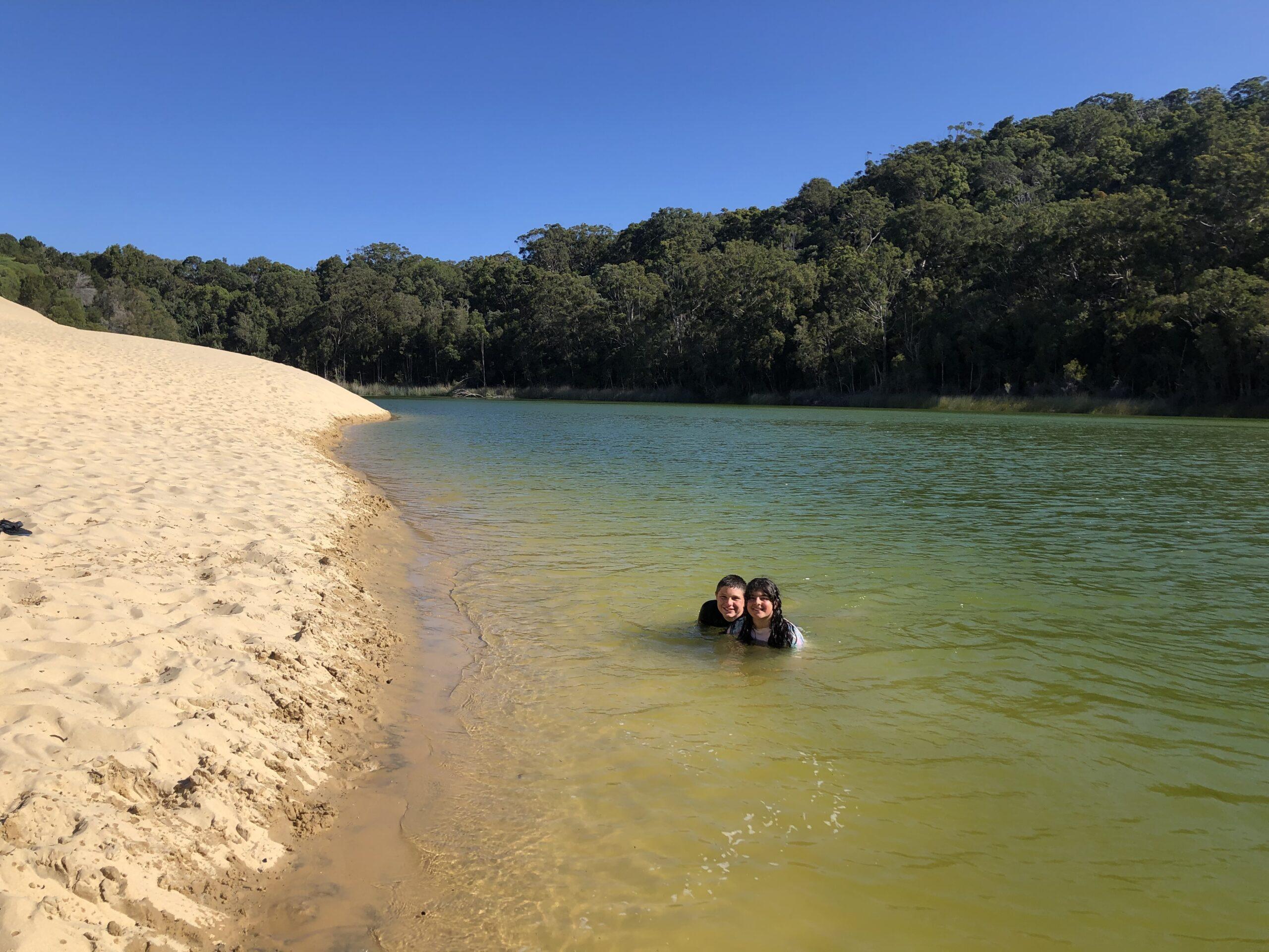 Swimming in Lake Wabby - Fraser Island